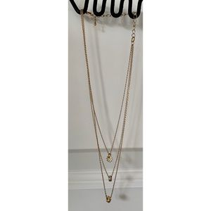 Three tier gold charm necklace